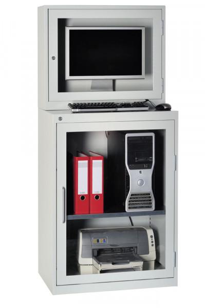 Computerschrank mit Acrylglasscheibe, Flügeltüre Höhe 900 mm