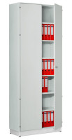 Modufix Flügeltüren-Büroschrank mit 5 Fachböden, HxBxT 2225 x 720 x 420 mm Lichtgrau / Lichtgrau