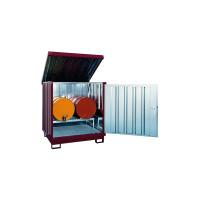 Gefahrstoff Depot, mit 1 Fassbock, 2 Fassauflagen Grauweiß RAL 9002