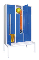 Z-Schrank mit Sitzbankuntergestell, 6 Abteile Zylinderschloss / Enzianblau RAL 5010