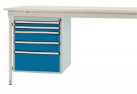 Schubfach-Unterbauten BASIS, stationär, 2 x 50 , 2 x 100 , 1 x 200 mm Brillantblau RAL 5007
