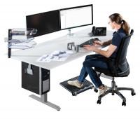 Elektr. höhenverstellbarer CAD-Arbeitstisch E-LINE 140, Melamin-Tischplatte 22 mm, lichtgrau 2000
