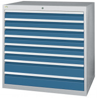 Schubfachschrank MAXTEC stationär, 1 x 50 , 2 x 100 , 3 x 150 , 1 x 200 mm Vollauszug 100%, 180 kg / Enzianblau RAL 5010
