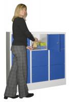Halbhoher Schließfachschrank, Vollblechtüren, Abteilbreite 400 mm, Anzahl Fächer 2x3 Enzianblau RAL 5010