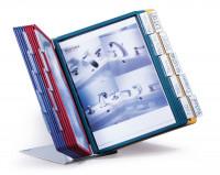 Klarsichttafel-Tischständersystem je 5 Tafeln in schwarz, rot, gelb, grün, blau / 30