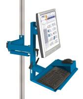 Ergo-Monitorträger mit Tastatur- und Mausfläche Brillantblau RAL 5007 / 100