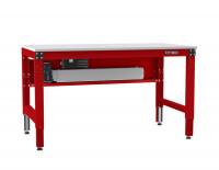Grundarbeitstisch MULTIPLAN Ergo E Memory, PVC 22 mm 1750 / 700 / Rubinrot RAL 3003