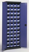 Magazinschrank mit Sichtlagerkästen, HxBxT 1950 x 690 x 285 mm Lichtgrau RAL 7035 / 54x Größe 2, 28x Größe 3