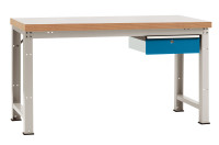 Komplett-Angebot Werkbank PROFI Modell 2, Platte Kunststoff 40 mm 1500 / Brillantblau RAL 5007