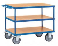 Schwere Tischwagen, 3 Ladeflächen aus Holzwerkstoff 800 / 1200