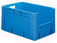 Schwerlast-Sichtlagerkästen mit Eingriffsöffnung, Wände und Boden geschlossen Blau / 60