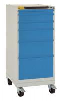 Schubfachschrank BASETEC mobil mit Blendenhöhe 1x50 , 2x100 , 1x150 , 1x200, 1x300 mm, leitfähig Brillantblau RAL 5007 / Brillantblau RAL 5007