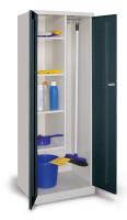 Putzmittelschrank mit glatten Türen Resedagrün RAL 6011