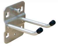 Doppelter Werkzeughaken mit schrägem Hakenende Alusilber RAL 9006 / 50