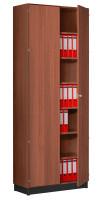 Modufix Flügeltüren-Büroschrank mit 5 Fachböden, HxBxT 2225 x 1020 x 420 mm Nussbaum / Nussbaum