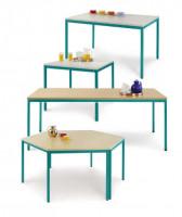 uniDesk Colors Ahorn Dekor 25 mm mit Wunschfarbe, 1400 x 700 x 725 mm, Trapeztisch lichtgrau / graug Buche / Wasserblau RAL 5021