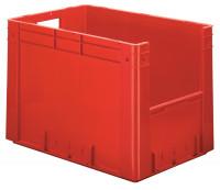 Schwerlast-Sichtlagerkästen mit Eingriffsöffnung, Wände und Boden geschlossen Rot / 80