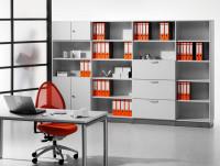 Modufix Kombi-Grund-Büroschrank Türen + Hängeregistratur mit 3 Fachböden, HxBxT 2225 x 820 x 420 mm Lichtgrau / Lichtgrau