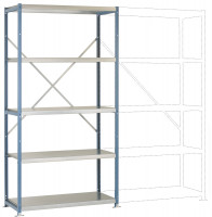 Mittelschwere Stahlfachboden Grundregale PLANAFIX Premium, Höhe 2000 mm, einseitige Nutzung 500 / Graugrün HF 0001
