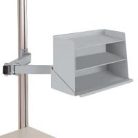 Sichtboxen-Regal-Halter-Element Alusilber ähnlich RAL 9006 / Doppelgelenk