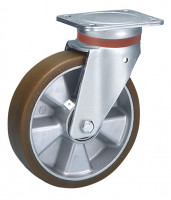 Lenkrolle auf Polyurethan-Bereifung 160 / Aluminium