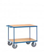 Schwere Tischwagen, 2 Ladeflächen aus Holzwerkstoff 800 / 1200