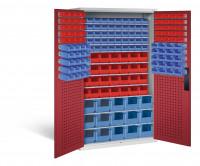 Großraumschrank mit 68 roten und 105 blauen Sichtlagerkästen, HxBxT 1950 x 1100 x 535 mm Lichtgrau RAL 7035 / Rubinrot RAL 3003