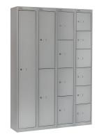 Schließfachschrank mit 4 Abteilen Lichtgrau RAL 7035 / 305