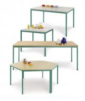 uniDesk Colors Ahorn Dekor 25 mm mit Wunschfarbe, 1400 x 700 x 725 mm, Trapeztisch lichtgrau / graug Melamin / Graugrün HF 0001