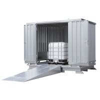 Gefahrstoff-Container, montierte Anlieferung, BxTxH 3075 x 2075 x 2375-2565 mm wassergefährdende Stoffe / Verzinkt