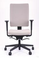 Bürodrehstuhl Torino, Rückenlehne mit Stoffpolsterbezug Weiß / Hellgrau