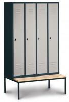 Garderobenschrank, die Klassischen, mit unterbauter Sitzbank, Abteilbreite 300 mm, 4 Abteile Lichtgrau RAL 7035 / Lichtgrau RAL 7035