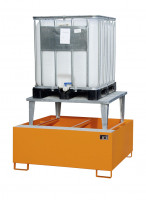 Auffangwannen für Tankcontainer und Fässer, mit Abfüllaufsatz Resedagrün RAL 6011 / 1460
