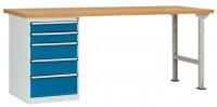 Komplettwerkbank Buche massiv 40 mm Combi Modell 3 2000 / Brillantblau RAL 5007