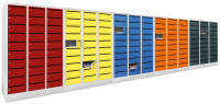 Postverteilerschrank, Abteilbreite 400 mm, 20 Fächer Lichtgrau RAL 7035 / Enzianblau RAL 5010