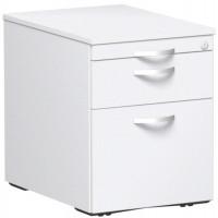 Rollcontainer mit Schublade aus Stahl, HxBxT 566 x 430 x 600 mm Weiß / 1 Utensilienschub, 1 Schubfach, 1 Hängeregister