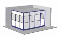 Hallenbüro mit Boden, 2-seitige Ausführung 4045 / 3045