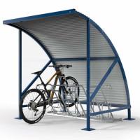 Fahrrad-Überdachungssystem aus Wellblech in topaktuellem Design Enzianblau RAL 5010 / 2090