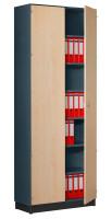 Modufix Flügeltüren-Büroschrank mit 6 Fachböden, HxBxT 2575 x 920 x 420 mm Graphit / Ahorn