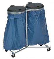 Doppel-Müllsackständer, Mobil Dunkelgrau / Verzinkt