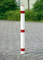 Runder Sperrpfosten aus Stahl zum Einbetonieren, ohne Schließung, Durchmesser 76 mm Weiß/Rot