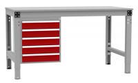 Schubfach-Unterbauten MULTIPLAN, stationär, 5x100 mm Rubinrot RAL 3003 / 1000