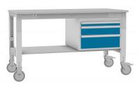 Komplett-Angebot UNIVERSAL mobil mit Melamin-Platte, mit Gehäuse-Unterbau 1500 / 800 / Brillantblau RAL 5007