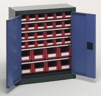 Magazinschrank mit Sichtlagerkästen, HxBxT 780 x 690 x 285 mm Lichtgrau RAL 7035 / 24x Größe 2, 8x Größe 3