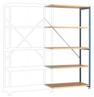 Schwere Holzfachboden Anbauregale PLANAFIX Premium, Höhe 2500 mm, beidseitige Nutzung 500 / Graugrün HF 0001