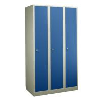 Garderobenschrank - die Extrahohen, 3 Abteile, Abteilbreite 400 mm Enzianblau RAL 5010