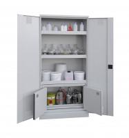 Chemikalienschrank mit Sicherheitsbox Typ 30 Lichtgrau RAL 7035 / Vollblech, zweiflüglig