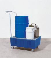 Kunststoff-Auffangwannen fahrbar 760 / Mit verzinktem Gitterrost