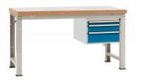 Komplett-Angebot Werkbank PROFI Modell 3, Platte Kunststoff 40 mm 1500 / Brillantblau RAL 5007
