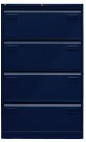 Hängeregistraturschrank Bisley Light, mit 4 Schüben, doppelbahnig, H x B x T 1321 x 800 x 622 mm Oxfordblau ähnlich RAL 5013 / Oxfordblau ähnlich RAL 5013